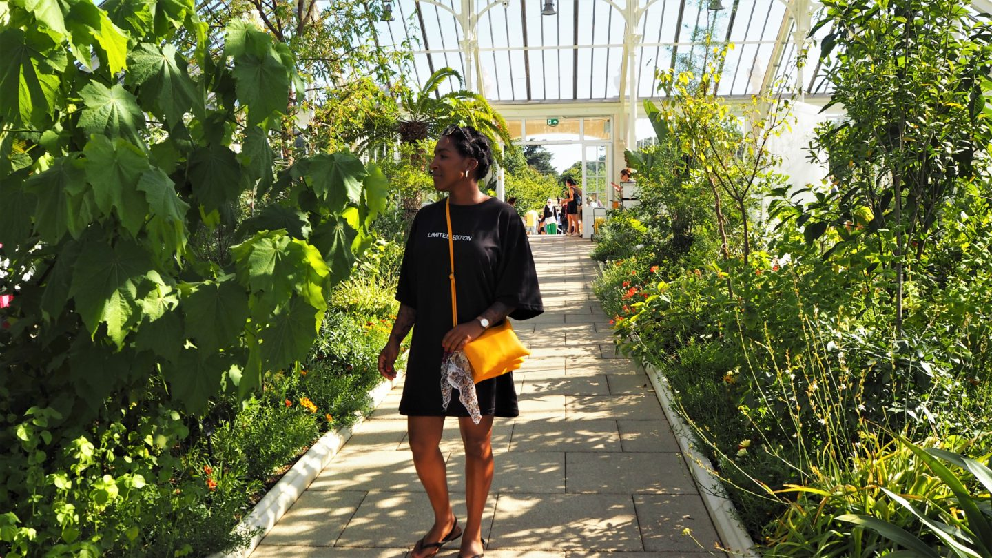 juanita likes, missguided, oversized black t shirt, black flip flops, cute little yellow bag, temperate house, kew gardens